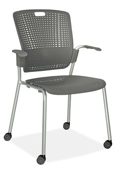 This modern stacking chair from Humanscale® features an innovative flexible backrest that provides lumbar support in a simple, versatile chair.