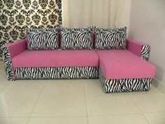 doll sofa, black zebra print , lime green - modern handmade 18