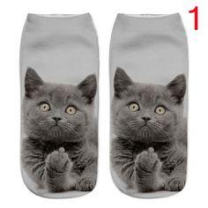 1Pair 3D Harajuku Style Print Cat Women Casual Unisex Low Cut Ankle Socks