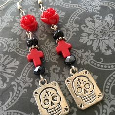 Day The Dead Sugar Skull Cross Earrings Nice pair of handcrafted Day of the Dead dangle earrings. Created with crystals, acrylic beads, resin roses, howlite crosses and Tibetan silver accents and two sided sugar skull charms. Sterling silver plated wires. ✨Only one created in this design✨.           PPTrades Foxy Red's Designs Jewelry Earrings