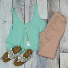 Mint is such a HOT color right now! With this layered tank top, you'll be ready for any spring or summer outing! --$25 at Entourage (Also Available in BLUE and ORANGE!)