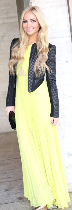 BCBG Max Azria Yellow pleated Gown I love this jacket want!!!