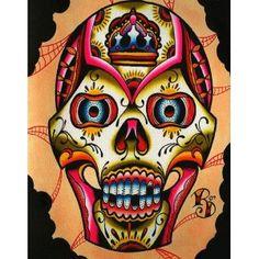 Muerto II by Ryan Downie Tattoo Art Giclee Canvas Fine Art Print - Purple Leopard Boutique