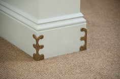 Skiffers - Corner protectors in solid brass castings designed to prevent damage to skirting boards and wall corners. Reminds me of the old steamer trunk hardware. Wonder if it could be repurposed for corner protectors. Flur Design, Moldings And Trim, Moulding, Stair Rods, Carpet Stairs, Stair Carpet Runner, Stair Runners, Carpet Flooring, Baseboards