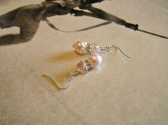 Pink  Pearl Earrings with Pink Swarovski Crystal  by SmockandStone, $17.00