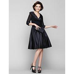 Lanting Bride® A-line Mother of the Bride Dress Knee-length Half Sleeve Chiffon / Taffeta with Ruching – USD $ 79.99