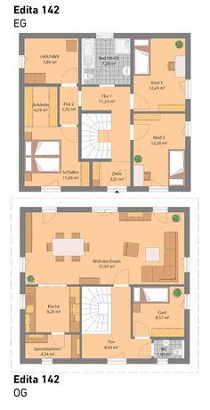 Unser Edita 142 ist die ideale Lösung für Grundstücke mit starker Hanglage.  All unsere Häuser sind optional auch mit Keller möglich.