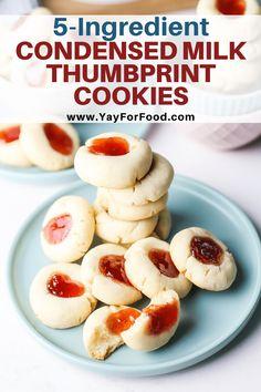 Best Cookie Recipes, Vegan Recipes Easy, Baking Recipes, Simple Cookie Recipes, Bar Recipes, Milk Recipes, Baking Ideas, Thumbprint Cookies Recipe, Milk Cookies