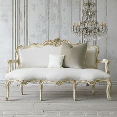 Eloquence One of a Kind Vintage Louis XV French Style Shabby Cream Settee Roses