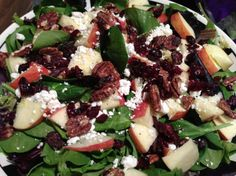 Spinach Salad With Smoked Chicken, Apple, Walnuts, Bacon Recipe - Food.com