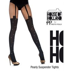 HOUSE OF HOLLAND PEARLY SUSPENDER TIGHTS