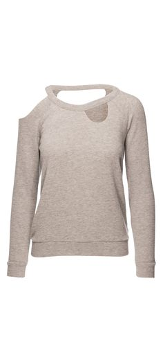 Chaser Love Knit Deconstructed Long Sleeve Raglan Pullover in Heather Grey / Manage Products / Catalog / Magento Admin