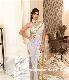 Shilpa Shetty in Dhoti Style Saree by Abu Jani Sandeep Khosla-PakeezaAnchal.com