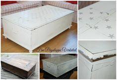 Kistebord malt med Milk Paint og dekorert med polka star www.frupigaloppsverksted.no eller https://facebook.com/frupigaloppsverksted