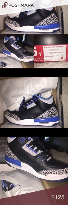 Jordan Retro 3's Brand new, never been worn. Still in the box with tissue paper and cardboard inserts inside the shoe.  Youth 5 = women's 7 Air Jordan Shoes Sneakers