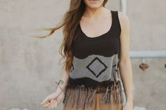 Geometric Fringed Crop Top DIY by Sincerely Kinsey >>>