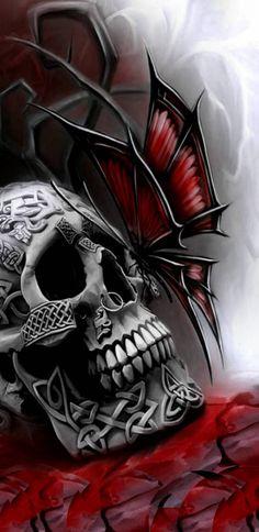 Skull & Go thic Art ☠️ Skull Artwork, Skull Painting, Ghost Rider Wallpaper, Skull Rose Tattoos, Art Tattoos, King Drawing, Totenkopf Tattoos, Skull Pictures, Skull Illustration