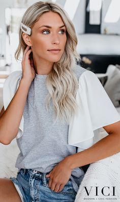 Plain round neck chiffon sleeve T-shirts Grey Fashion, Spring Fashion, Distressed Denim Shorts, Cheap Prom Dresses, Spring Looks, Casual Tops, Heather Grey, Tees, Shirts