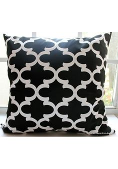 Black Quatrefoil Dorm Decorative Throw Pillow *Avail. In All Sizes* | Teen Girl Dorm Room Bedding