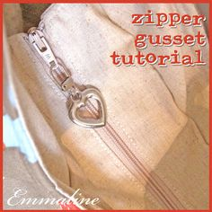 .How to Sew a Zipper Opening in Your Purse or Handbag - A Tutorial.  Easy way to add a zip to the top of a bag.