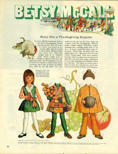 Vintage November 1969 Magazine Paper Doll Betsy McCall Has a Thanksgiving Surprise