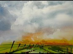 Watercolor storm sky landscape 20x speed - painting demonstration - YouTube