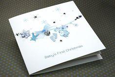 """Handmade Christmas Card """"Baby's First Christmas - Boy"""""""