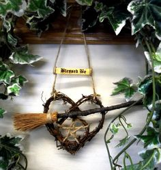 Handfasting Gift. Rustic Pentacle & Besom Vine Heart  Home Blessing . Pagan / Wiccan