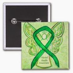 Mental Health Awareness Green Ribbon Angel Custom Pins or Buttons