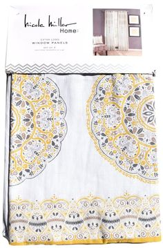 Nicole Miller Yellow Gray Taupe Medallion 2pc Window Curtain Panels Drapes PAIR #NicoleMiller #Contemporary