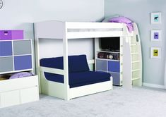 The Highsleeper range is ideal for children aged 6 upwards. The elevated frame allows for optimal storage underneath, as well as offering space for a wide selection of additional, matching furniture. The detachable ladder can be placed at either end of the bed, and has been created with both comfort and safety in mind. The handles at the top of the ladder ensure maximum safety when in use.   The Highsleeper comes in a range of different combinations.  The Highsleeper headboards and…