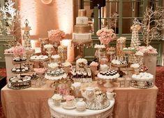 cake table full of deserts