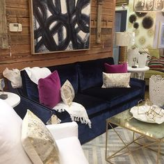 #CRLaine Judy #sofa in luxe velvet pattern Posh Ink now on the floor at our #RetailPartner @custominteriors - #MadeInTheUSA #StyleComfortColor #we❤️ourRetailPartners #BuyLocal