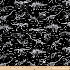 Timeless Treasures Glow In The Dark Dinosaur Skeletons Black from @fabricdotcom  From Timeless Treasures, this cotton print fabric features dinosaur skeletons and glows in the dark! Perfect for quilting, apparel and home decor accents. Colors include black and white.