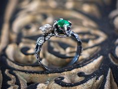 """Natural Emerald Sterling silver Ring in the Flower Style """"Elatio"""". Elven Jewelry, Emerald Jewelry, Ring with Bird, Flower Jewelry, Emerald by NellyRomanova on Etsy"""