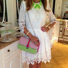 Good morning! Today i am wearing  this amazing dress by malene birger, Valentino bag, ek thongprasert necklace and miumiu sandals #summerwhitewithatouchifpinkandgreen#