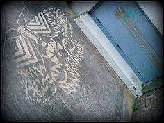 Hastings & St Leonards Moth Project, reverse graffiti by Moose