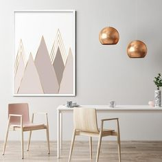 Neutral Wall Art Beige & Gold Abstract Mountains Art   Etsy Colorful Mountains, Triangle Art, Neutral Walls, Grey Roses, Mountain Art, Pink Art, Gold Print, Poster Prints, Posters