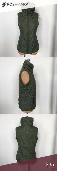 Columbia army green, fleece lined puffy vest- sz S worn once for a photoshoot. Columbia Jackets & Coats Vests