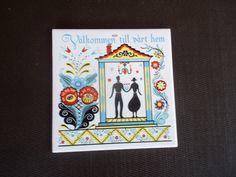 Vintage Swedish Berggren Trayner Tile 'Valkommen Till Vart Hem' Welcome to Our Home by ObjetLuv on Etsy