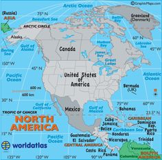 All of this is included in the continent of NORTH AMERICA North America Map
