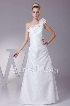 Drop Waist Wedding Dresses One Shoulder Floor Length Satin White 01001070082