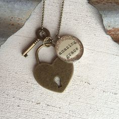 Lock and Key Glass Glitter Charm Necklace by farmhousechicdesigns, $38.00