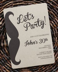 Birthday Invitation for Men or Boys / Guys Mustache Party Invitation : Size 5x7, Set of 8