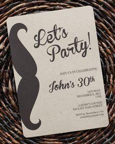 Birthday Invitation For Men Or Boys Guys Mustache Party Size 5x7 Set