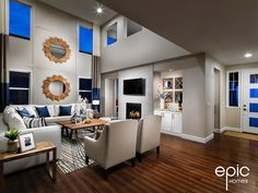 Model - Epic Homes, Leyden Rock, Arvada Colorado Broomfield Colorado, Arvada Colorado, Colorado Homes, High Ceilings, Drapery, Great Rooms, Building A House, Family Room, New Homes
