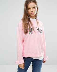 STYLENANDA Crew Neck Sweatshirt With Frill Sleeves And Sequin Swallow Patches
