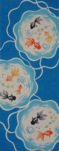 Tenugui Japanese Fabric 'Goldfish Bowls' Motif w/Free Shipping
