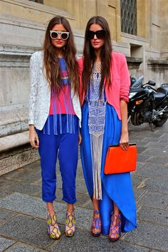 Street Style! Love the shoes and the blue color!