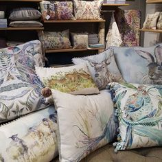 Some golden oldies such as Harriet Hare and Wallace Stag and some beautiful new patterns including Netherton Skylark and Northlew Pheasant.  #voyagemaison #cushions #animalcushions #countrychic